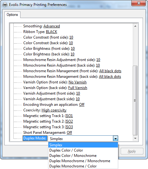 Windows 7 Evolis Primacy Printing Preferences