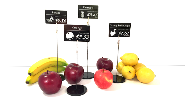 price tag holder with fruits