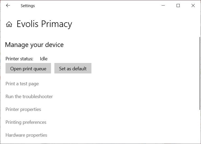 Windows 10 Evolis Primacy Properties