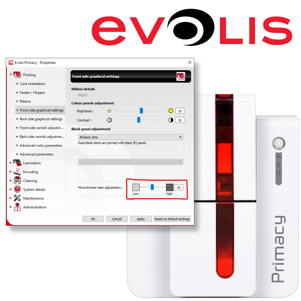 How to Increase Resin Heat on an Evolis Zenius or Primacy
