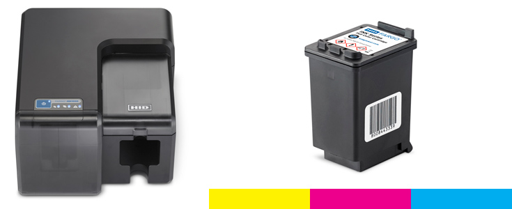 Single ink cartridge containing YMC (Yellow, Magenta, Cyan)