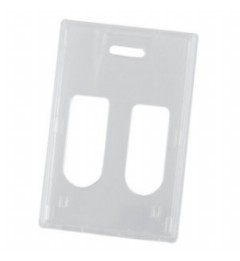 Clear RigidWear Vertical 2-Card Badge Holder - 100 per pack