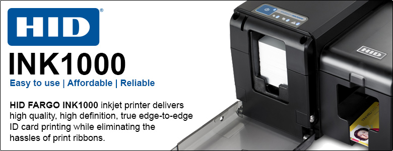 HID FARGO INK1000 inkjet printer delivers high quality, high definition, true edge-to-edge ID card printing while eliminating the hassles of print ribbons.